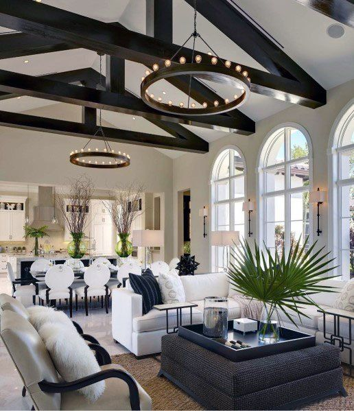 Interior Designs Living Room Black Wood Beams Vaulted Ceilings