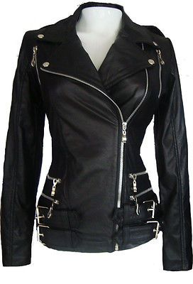 Motorcycle Leather Jacket For Womens With Front Zippers Black Sz M ...