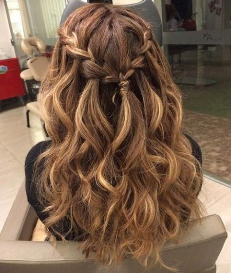 Braided Curly Half Updo For Long Hair Promhair Formal Hairstyles For Long Hair Prom Hairstyles For Long Hair Hair Down With Braid