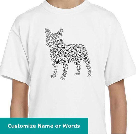 Personalized French Bulldog Dog T Shirt  by maryscanaryshop