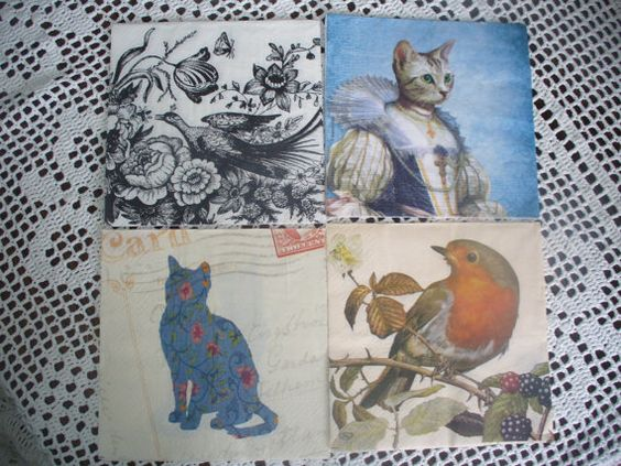 4 Paper napkinspaper Napkins for Decoupage Collage by goshet