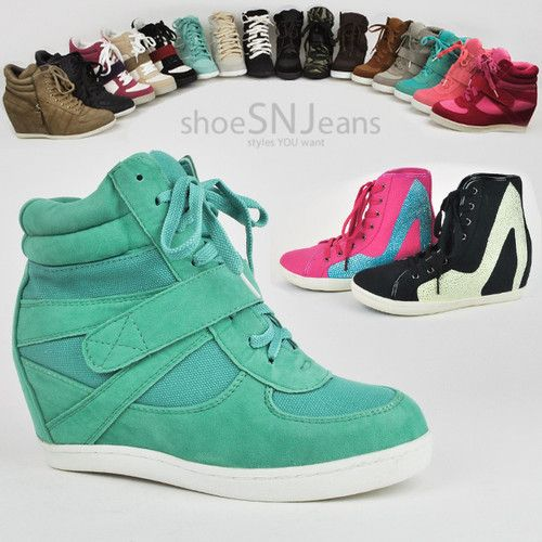 Women High Top Wedge Heels Sneakers Hip Hop Lace Up Tennis Shoes ...