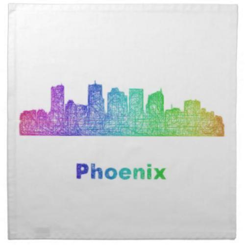 Rainbow Phoenix skyline Napkin $49.65 *** Rainbow city skyline of Phoenix  Arizona. - cloth napkin