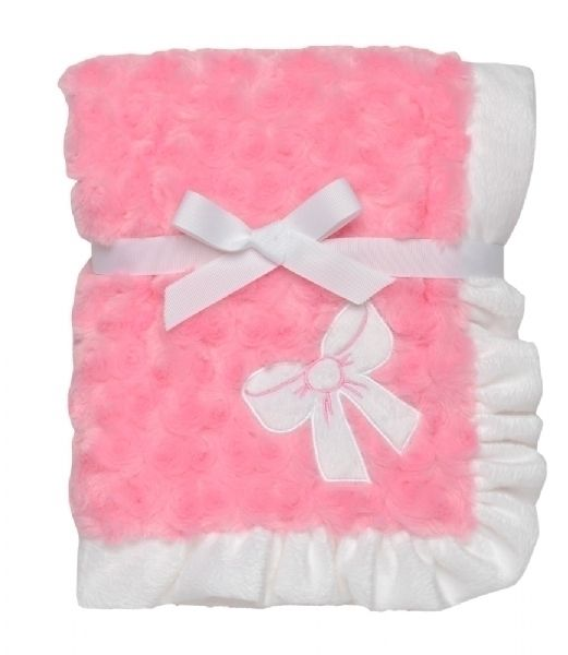 This beautiful Swirl Bow Blanket has an ultrasoft swirl designed furry surface which babies will love to cuddle. It has a white velour border and appliqued bow with pink satin backing offering a variety of touchy sensations for baby. It is 30 x 40 inches in size. PERSONALIZATION IS INCLUDED above the bow. $22 TODAY IF YOU MENTION PINTEREST. wE WILL CALL YOU AND REFUND ON YOUR CARD.  http://www.burpsbibsandbeyond.com/Item/Swirl-Bow-Applique-Blanket
