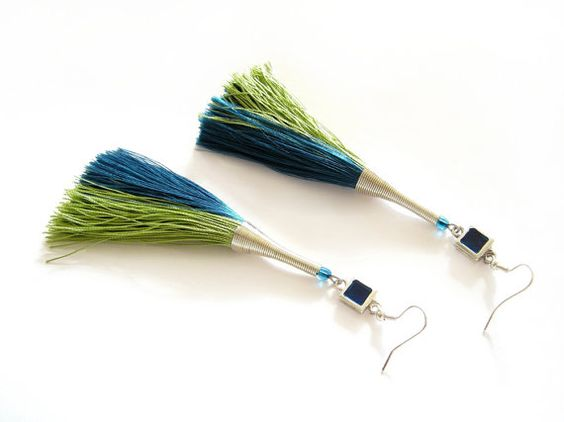 Long Tassel Earrings Dangle Earrings Blue Green by LENNYshop
