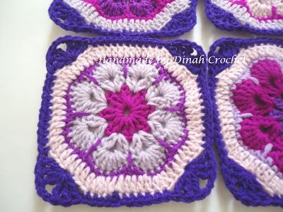 African flower squares ~ tutorial | ..❀Dinah's Crochet❀..