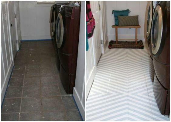 Fliesen Streichen Waschkuche Boden Vorher Nachher Streifen