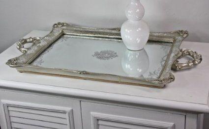 Tablett Spigeltablett silber antik Patina Dekoschale Schale Landhaus B33 x H4 x
