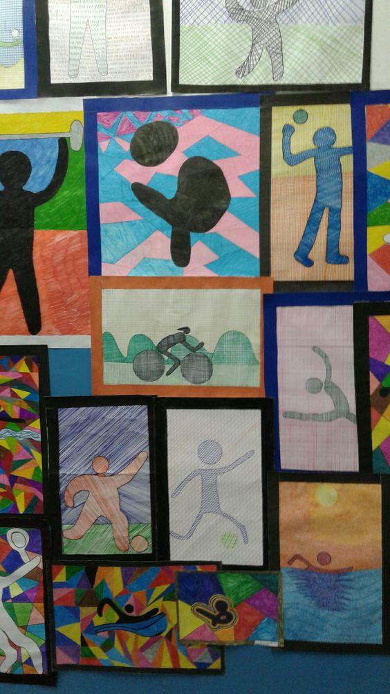 Pictogramas das Olimpíadas feitos com técnicas diversas de canetinhas...: