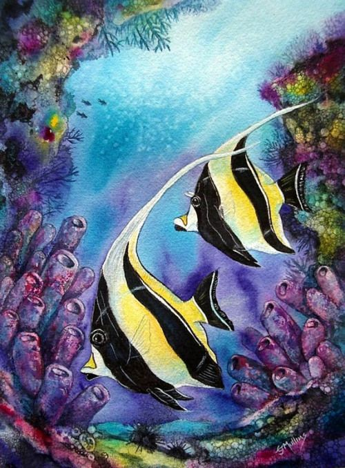 Striped Moorish Idols Painting Ocean Fish Art Saltwater Aquarium
