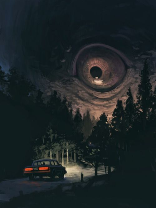 "monthoffearart:  Kurt Huggins For the ""Things that Go Bump"" challenge from Month of Fear 2014. ""The Watcher, this comes from a feeling I tend to get while driving down moonlit rural roads."""