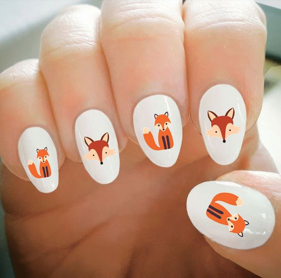 Nail Decals, Fox Nail Decals, Water Transfer Nail Decals,Nail Tattoo,Fashionable Nail Art,Custom Nail Decals by ShopRisasPieces on Etsy:
