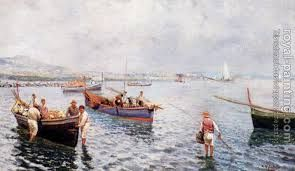 Neapolitan fishermen - Attilio Pratella #art #painting #boats #sea