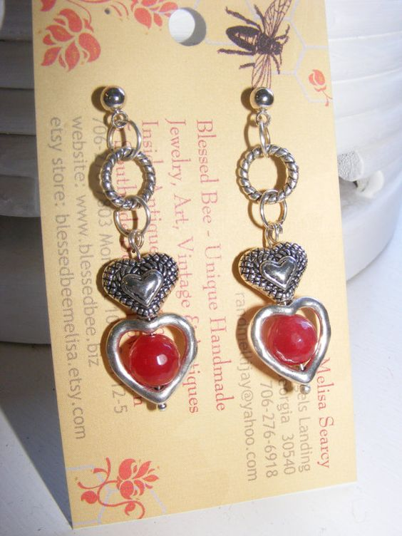 Earrings Ruby faceted round gemstones with by BlessedBeeMelisa, $19.95