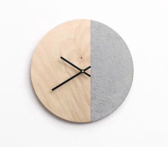 Quiet Wood Wall Clock Faux Cement And Birch Wood Clock Scandinavian Living Room Wall Decor Reclaimed Wood Furnishings Wood Wall Clock Wood Clocks