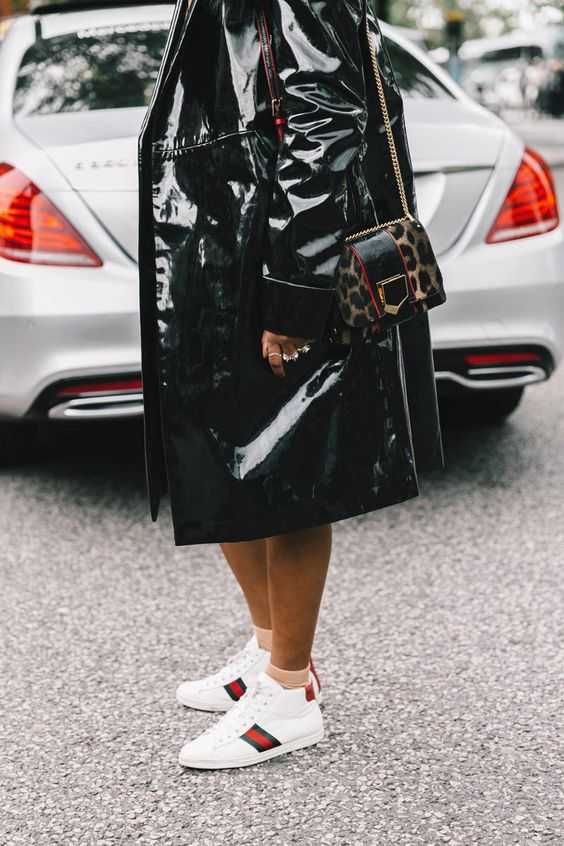 high gloss outerwear paired with white sports sneakers and ankle socks || Saved by Gabby Fincham ||