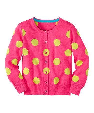 Another great find on #zulily! Pink Garden Polka Dot Cardigan - Infant, Toddler & Girls #zulilyfinds