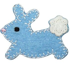 Shop for ID #3347B Blue Cottontail Baby Bunny Rabbit Felt Stitched Iron On Patch at 11 Main.