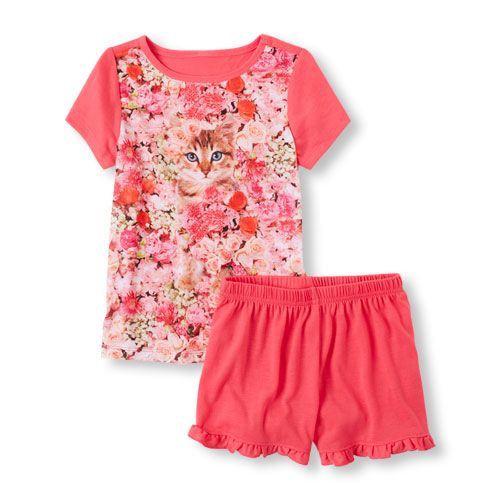 Baby Girls Short Sleeve Photo-Real Flower Kitty Tee And Solid Ruffle Short Pajama Set - Pink T-Shirt - The Children's Place