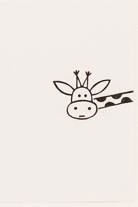 Funny Giraffe peek-a-boo stamp kids gift Around door WoodlandTale: