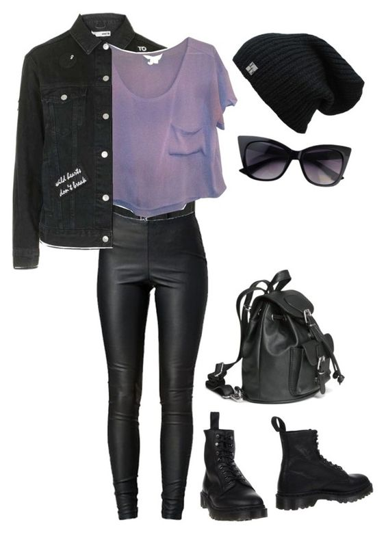 """""""Untitled #798"""" by ayeeeitsfatso ❤ liked on Polyvore featuring Topshop, VILA, BCBGeneration and Dr. Martens"""