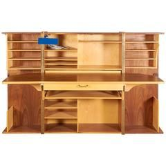 Mummenthaler and Meier Teak 'Magic Box' Fold Out Secretary Desk and Cabinet