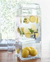 for the iced tea and water.  decorate the bottom and fill it with ice to keep cold outside