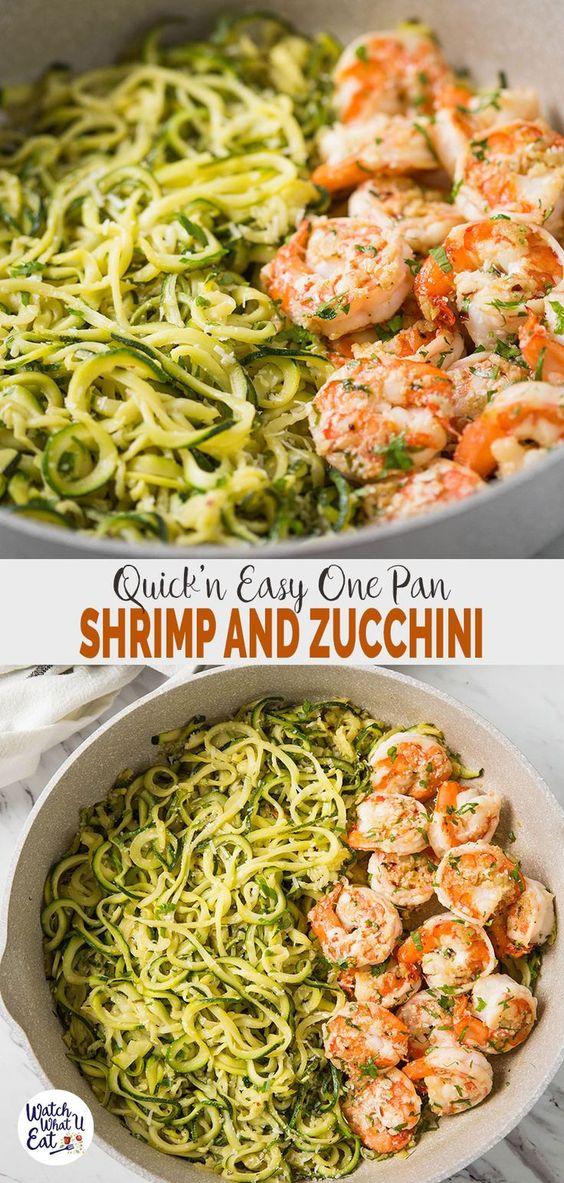 One Pan Lemon Garlic Shrimp And Zucchini Noodles