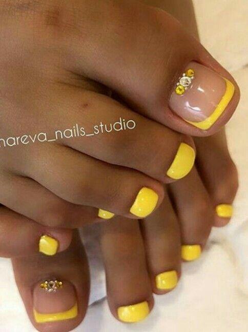 Yellow French Toenails Yellow Toe Nails Toe Nails Toe Nail Designs