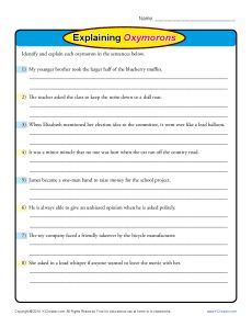 Explaining Oxymorons   Worksheets, Free Printable Worksheets and ...