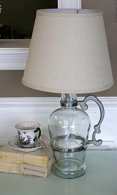 "#DIY ""Jug-O-Booze"" lamp! Love it!"