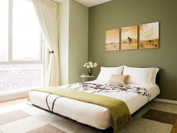 dormitorio pared verde