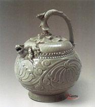 五代 耀州窯青釉提梁倒灌壺 | 中華博物