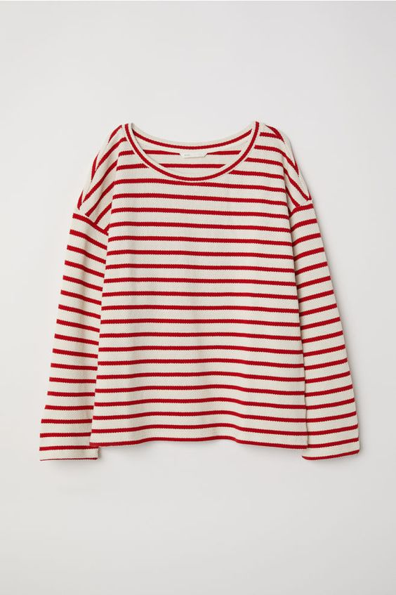 Jersey de punto - Blanco natural/Rayas rojas - MUJER | H&M ES 4