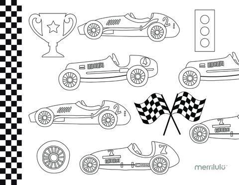 Race Car Party Coloring Page Free Printable Coordinates With