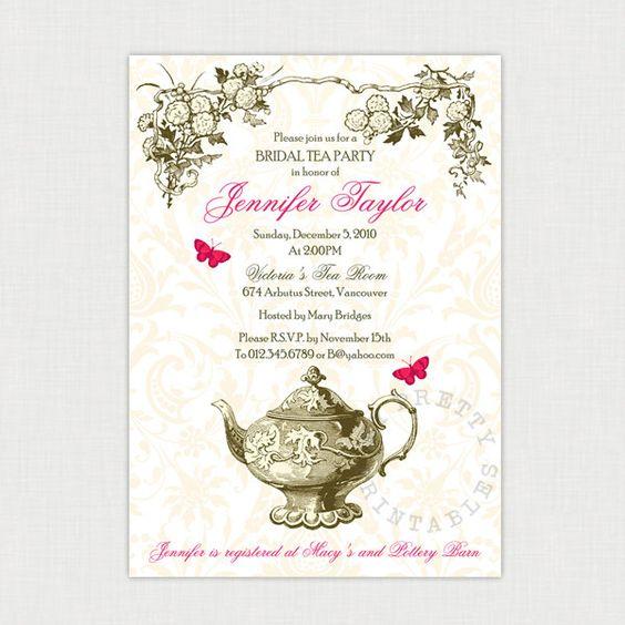 Garden Tea party - DIY printable Bridal Shower Invitation ...