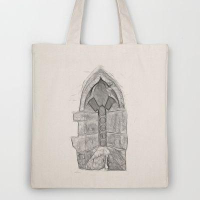 Medieval Church Window Tote Bag by Rainer Steinke - $18.00 church window drawing pencil bleistift zeichnung fenster kirche mittelalter medieval #church #window #drawing #pencil #bleistift #zeichnung #fenster #kirche #mittelalter #medieval