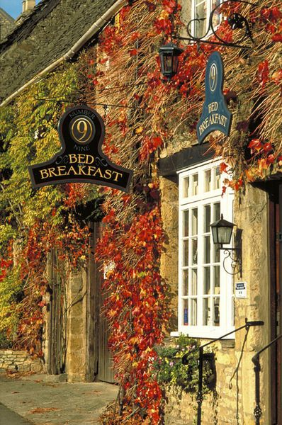 This Bed & Breakfast looks so charming in its fall clothes...