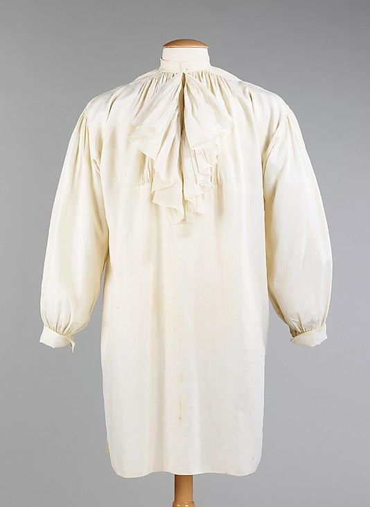 French Linen late 18th-century men's shirt shows the typical cut of the period. Gussets below the arm were used to allow freedom of movement while the gusset on the shoulder assisted with fit, allowing the fabric to not pull tightly through the neck and chest. The unique piecing on this shirt approximates the shape of the body and allows for more fullness at the front without adding bulk at the waist.