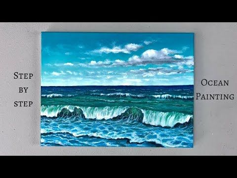 42 Colorbyfeliks Step By Step Ocean Painting Using Acrylics Youtube Ocean Paintings On Canvas Ocean Painting Ocean Landscape Painting