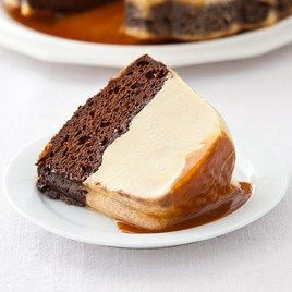 Our Magic Chocolate Flan Cake is a uniquely hybrid dessert with a layer of rich chocolate cake and caramel-coated flan.