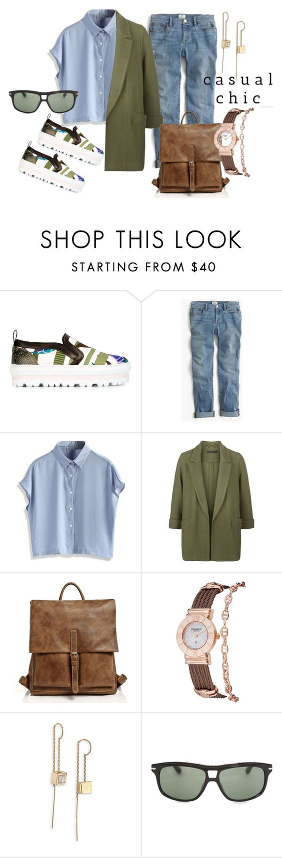 """""""Casual"""" by tanyakountz ❤ liked on Polyvore featuring MSGM, J.Crew, Chicwish, New Look, Charriol, Alexis Bittar and Persol"""