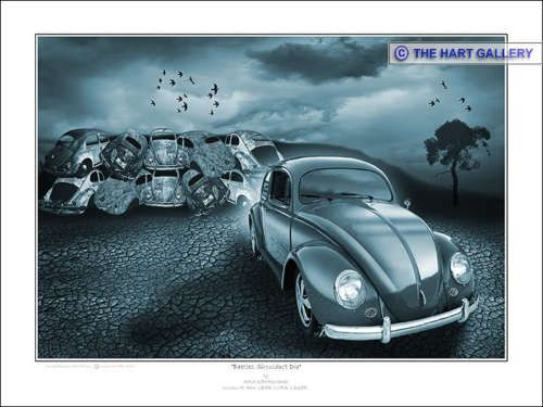 A Digital Art Painting Featuring A Volkswagen Beetle. The Print Is Entitled   Design