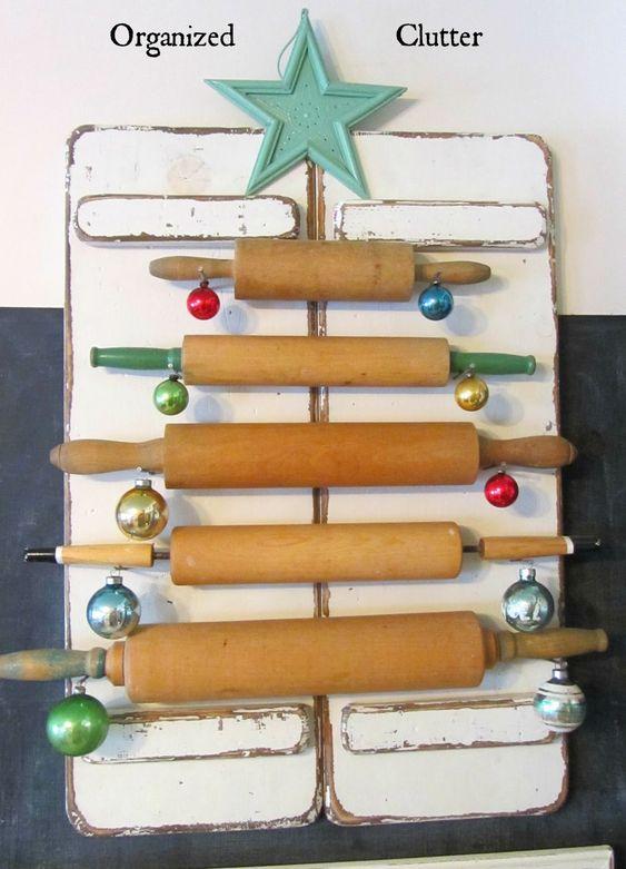 Re-Purposed Rolling Pin Christmas Tree www.organizedclutterqueen.blogspot.com: