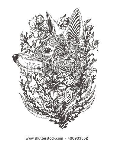 Fox In Flowers Hand Drawn With Ethnic Floral Doodle