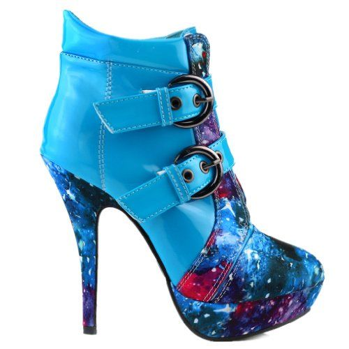 Show Story Blue Buckle Night Sky High Heel Stiletto Platform Ankle Boots,LF30301BU40,9US,Blue - #Shoes