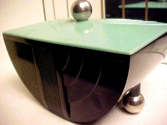 art deco ge modernistic 1930s bakelite cigarette box w chrome ball feet generalelectricco art deco box office loew