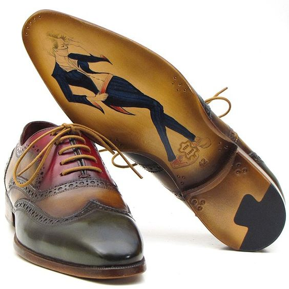 Paul Parkman Wingtip Multicolor Oxfords. Customized order with hand-painting on leather sole. The Art of Handcrafted Footwear #paulparkman #bespoke #shoemaker #luxury #wingtip #oxfords