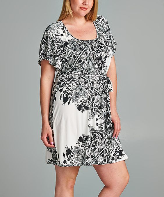 This Tua Plus Black & White Tie-Waist Cape-Sleeve Dress - Plus by Tua Plus is perfect! #zulilyfinds