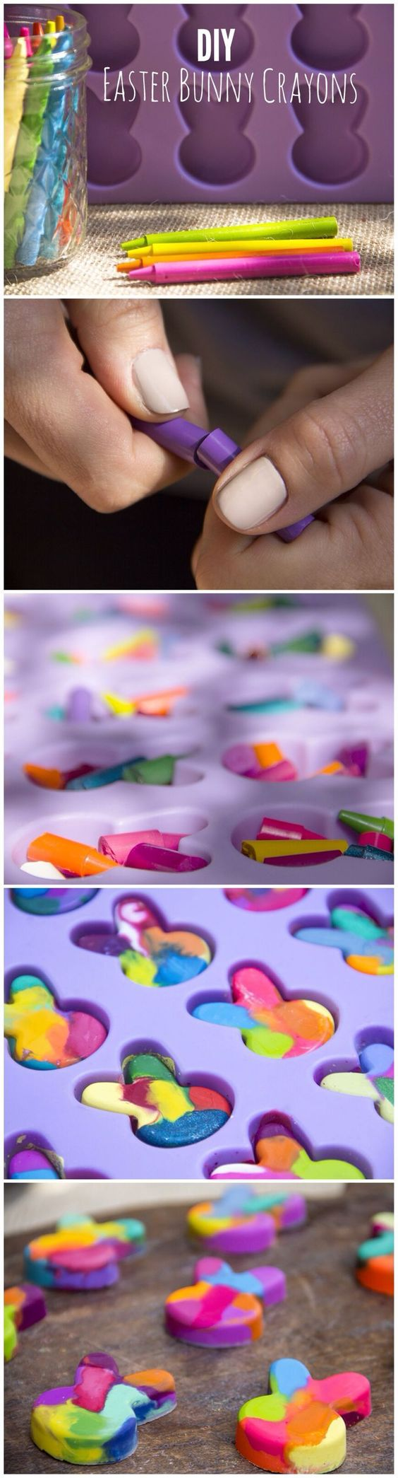 DIY Easter Bunny Crayons by Moonfrye.com Easter Crafts   Kids Crafts   Rainbow Crayons: